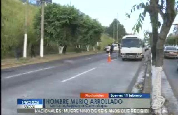 Hombre murió arollado en la autopista a Comalapa