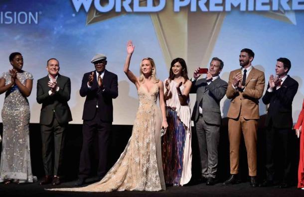 """Las estrellas celebran la primera película de superhéroe con protagonista femenino """"Capitán Marvel"""""""